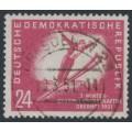 EAST GERMANY / DDR - 1951 24pf red-carmine Ski Jumping, used – Michel # 281