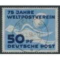 EAST GERMANY / DDR - 1949 50pf blue/dark ultramarine UPU Anniversary, used – Michel # 242