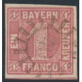 BAVARIA / BAYERN - 1850 1Kr rose Numeral, imperforate, used – Michel # 3Ia