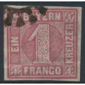 BAVARIA / BAYERN - 1850 1Kr deep rose Numeral, imperforate, used – Michel # 3Ib