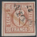 BAVARIA / BAYERN - 1849 6Kr reddish brown Numeral, imperforate, used – Michel # 4I