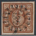 BAVARIA / BAYERN - 1850 6Kr deep brown Numeral, imperforate, used – Michel # 4II