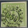 BAVARIA / BAYERN - 1851 9Kr yellowish green Numeral (type III), imperf., used – Michel # 5cIII