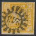 BAVARIA / BAYERN - 1854 18Kr yellow-orange Numeral, imperforate, used – Michel # 7