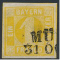 BAVARIA / BAYERN - 1862 1Kr yellow Numeral, imperforate, used – Michel # 8I