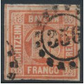 BAVARIA / BAYERN - 1866 18Kr dull orange-red Numeral, imperforate, used – Michel # 13b