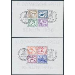 GERMANY - 1936 Berlin Olympic Games set of 2 S/S, used – Michel # Block 5 + Block 6