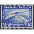 GERMANY - 1928 2RM ultramarine Graf Zeppelin, used – Michel # 423