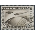 GERMANY - 1930 4RM black-brown Graf Zeppelin, overprinted 1. Südamerika Fahrt, used – Michel # 439Y