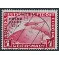 GERMANY - 1931 1RM red Graf Zeppelin, overprinted POLAR-FAHRT 1931, used – Michel # 456