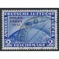 GERMANY - 1931 2RM ultramarine Graf Zeppelin, overprinted POLAR-FAHRT 1931, used – Michel # 457