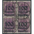 GERMANY - 1923 100Tausend on 100Mk grey-violet Numeral, block of 4, geprüft, used – Michel # 289b