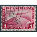 GERMANY - 1933 1M deep rose Graf Zeppelin, Chicagofahrt Weltausstellung 1933, used – Michel # 496