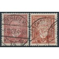 GERMANY - 1924 60pf brown-red Heinrich von Stephan, both paper types, used – Michel # 362x + 362y