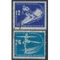 EAST GERMANY / DDR - 1950 Winter Sports set of 2, used – Michel # 246-247