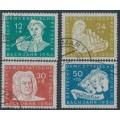 EAST GERMANY / DDR - 1950 Johann Sebastian Bach set of 4, used – Michel # 256-259