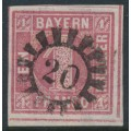 BAVARIA / BAYERN - 1850 1Kr deep rose Numeral, imperforate, used – Michel # 3Ib
