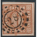 BAVARIA / BAYERN - 1855 6Kr brown Numeral, plate 2, imperforate, used – Michel # 4II