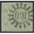 BAVARIA / BAYERN - 1850 9Kr pale emerald Numeral (type I), imperf., used – Michel # 5Ia