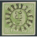 BAVARIA / BAYERN - 1851 9Kr yellowish green Numeral (type III), imperf., used – Michel # 5IIIc