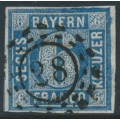 BAVARIA / BAYERN - 1862 6Kr blue Numeral, imperforate, used – Michel # 10a
