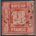 BAVARIA / BAYERN - 1862 18Kr vermllion Numeral, imperforate, used – Michel # 13a