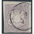 BAVARIA / BAYERN - 1867 12Kr pale violet Coat of Arms, imperforate, used – Michel # 18