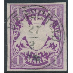 BAVARIA / BAYERN - 1874 1M violet Coat of Arms, imperf., wide diamonds watermark, used – Michel # 30a