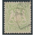 BAVARIA / BAYERN - 1875 1Kr yellow-green Coat of Arms, horizontal wavy lines watermark, used – Michel # 32a