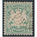 BAVARIA / BAYERN - 1876 5pf bluish green Coat of Arms, horizontal wavy lines watermark, used – Michel # 38a
