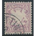 BAVARIA / BAYERN - 1878 5pf violet Coat of Arms, perf. 11½, horizontal wavy lines watermark, used – Michel # 45a