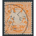 BAVARIA / BAYERN - 1876 2Mk orange Coat of Arms, horizontal wavy lines watermark, used – Michel # 44a
