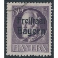 BAVARIA / BAYERN - 1919 80pf deep grey-violet King, o/p FREISTAAT BAYERN, used – Michel # 164A