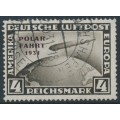 GERMANY - 1931 4RM black-brown Graf Zeppelin, overprinted POLAR-FAHRT 1931, used – Michel # 458