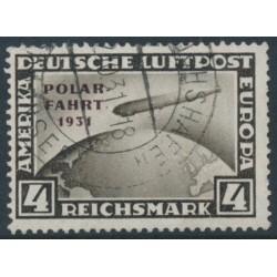GERMANY - 1931 4RM black-brown Graf Zeppelin, overprinted POLAR-FAHRT 1931, used – Michel # 458