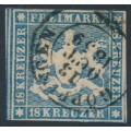 WÜRTTEMBERG - 1857 18Kr blue Coat of Arms, imperf. with silk thread, used – Michel # 10a