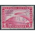 GERMANY - 1931 1RM red Graf Zeppelin, o/p POLAR-FAHRT 1931, used – Michel # 456