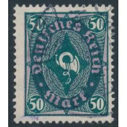 GERMANY - 1922 50Mk green/violet Posthorn, Quatrefoil watermark (Vierpass), geprüft, used – Michel # 209PY
