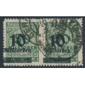 GERMANY - 1923 10Milliarden on 50Millionen Mk Numeral, misplaced overprint, geprüft, used – Michel # 336B