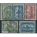 GERMANY - 1924-1930 1Mk to 5Mk Castles definitives set of 5, used – Michel # 364-367 + 440