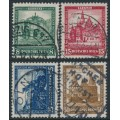 GERMANY - 1931 Famous Buildings Charity set of 4, used – Michel # 450-453