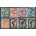 GERMANY - 1926-1927 5pf to 3M Eagles airmail set of 8, used – Michel # 378-384 + A379