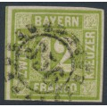 BAVARIA / BAYERN - 1862 12Kr yellow-green Numeral, imperforate, used – Michel # 12