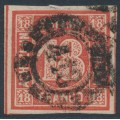 BAVARIA / BAYERN - 1862 18Kr vermilion Numeral, imperforate, used – Michel # 13a