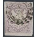 BAVARIA / BAYERN - 1867 12Kr pale violet Coat of Arms, imperforate, used – Michel # 18