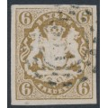 BAVARIA / BAYERN - 1868 6Kr ochre-brown Coat of Arms, imperforate, used – Michel # 20