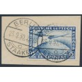 GERMANY - 1930 2RM blue Zeppelin, 1. Südamerika Fahrt, used – Michel # 438Y