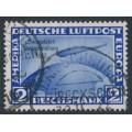 GERMANY - 1933 2M blue Graf Zeppelin, Chicagofahrt Weltausstellung 1933, used – Michel # 497