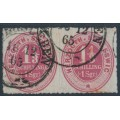 SCHLESWIG-HOLSTEIN - 1865 1⅓S rose-red Numeral, rouletted, horizontal pair, used – Mi # 15