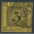 BADEN - 1851 3Kr black on orange-yellow Numeral, imperforate, used – Michel # 2a